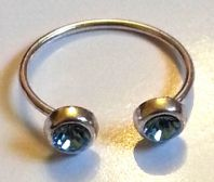 Sterling Silver Toe Ring with 2 Blue Cubic Zirconia